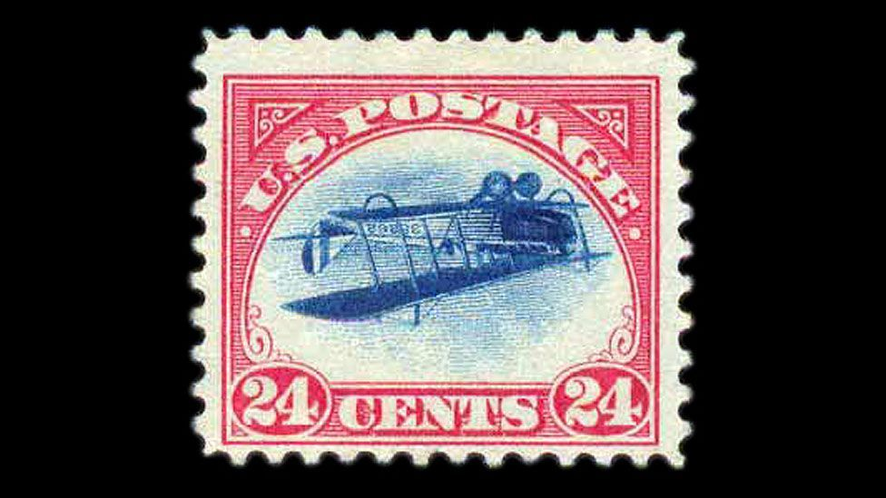 The inverted Jenny, worth about $100,000 today, is an American stamp from 1918; 100 examples misprinted with the plane flying upside down. (Credit: Warwick & Warwick)