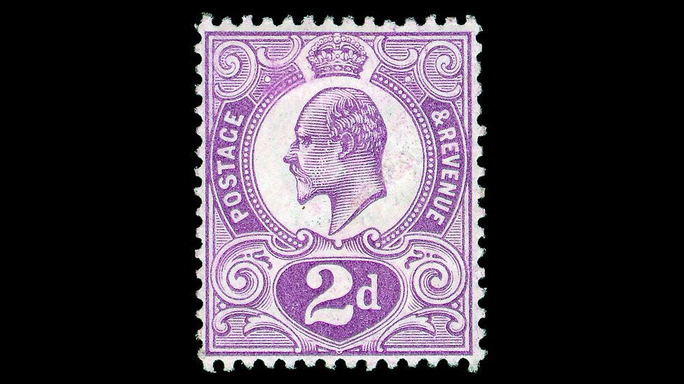 The two pence (2d) Tyrian plum was a postage stamp produced by Britain in 1910. Following the death of King Edward VII it was never issued. (Credit: Warwick & Warwick)