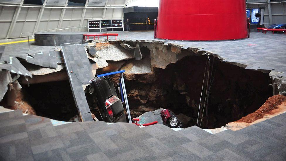 Destruction at the National Corvette Museum in Kentucky (Rex)