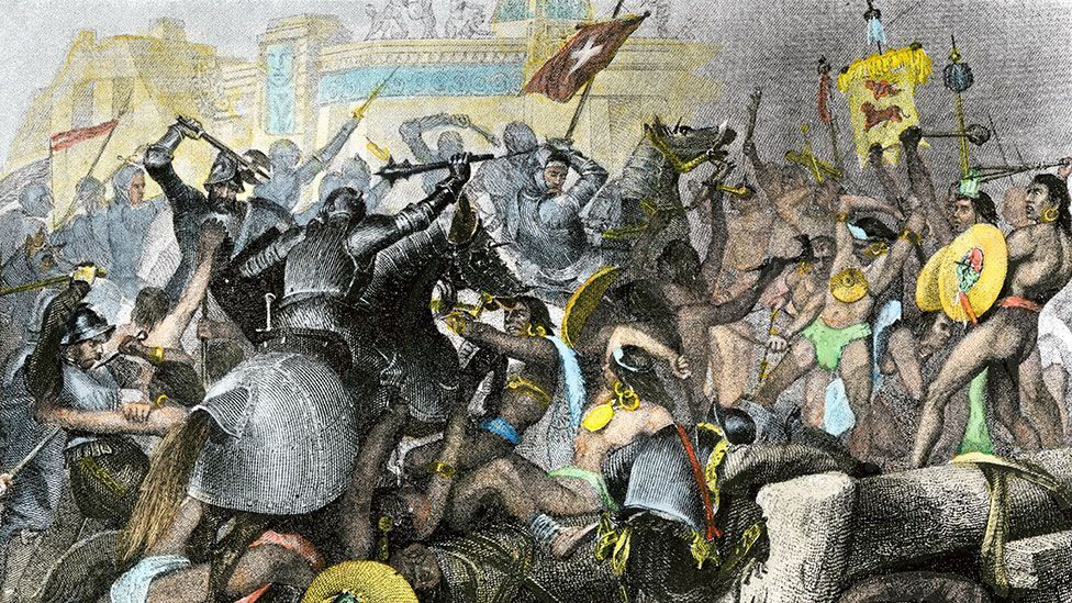 Hernán Cortés and his conquistadores captured Tenochtitlan in 1521 and eventually was buried beneath the new buildings of Mexico City (North Wind Picture Archives/Alamy)