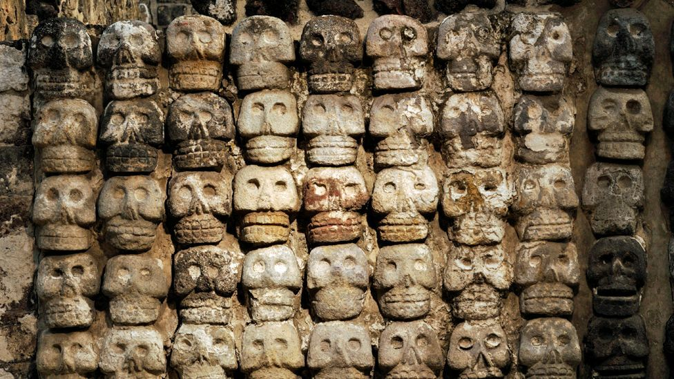 The Templo Mayor Museum, located next to the actual ruins, contains artefacts excavated from the temple, like this 'wall of skulls' (Corbis)