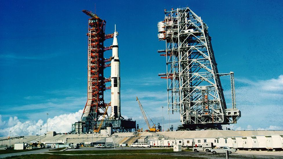 The rocket harks back to the days of the Saturn V, which launched Nasa's Moon missions (Nasa)