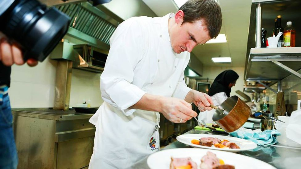Tomas Reger sometimes works with cooks to build their skills. (Credit: Neil Walton)