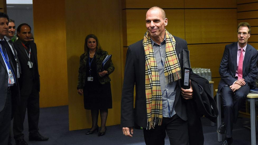 Greek Finance Minister Yanis Varoufakis has been criticized for wearing an expensive Burberry scarf. (Credit: Emmanuel Dunand)