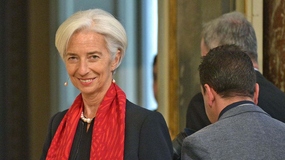 Christine Lagarde of the IMF favours bright neckwear. (Credit: Alberto Pizzoli/Getty Images)