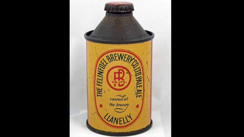 This cone top Felinfoel pale ale, Britain's first beer tinnie, is worth about £1,240 ($1,900). (Credit: Nick West)