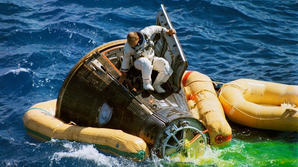 The Gemini capsule was designed to be recovered from the ocean, like the earlier Mercury spacecraft (Credit: Nasa)