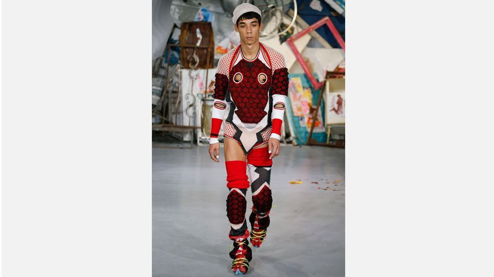 Meadham Kirchhoff's 2015 spring/summer collection at London Fashion Week featured gender-bending elements and drew comparisons with Gaultier's work (Rex Features)