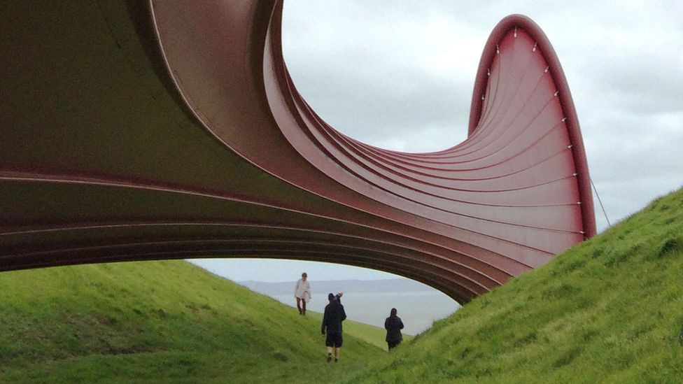 A giant red horn in the sculpture collection. (Credit: Getty Images)