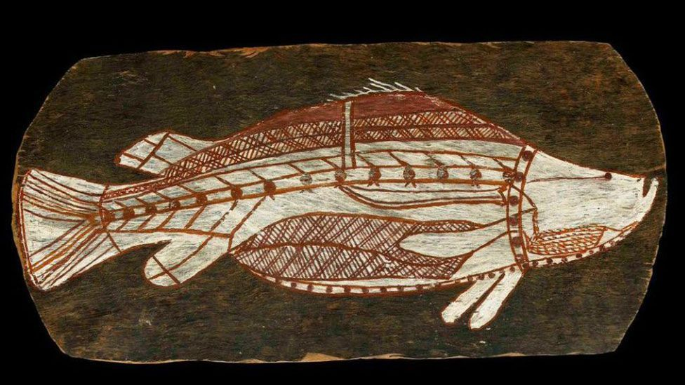 Repatriating art to indigenous peoples, such as this Aboriginal bark painting at the British Museum, remains controversial (Credit: The Trustees of the British Museum)
