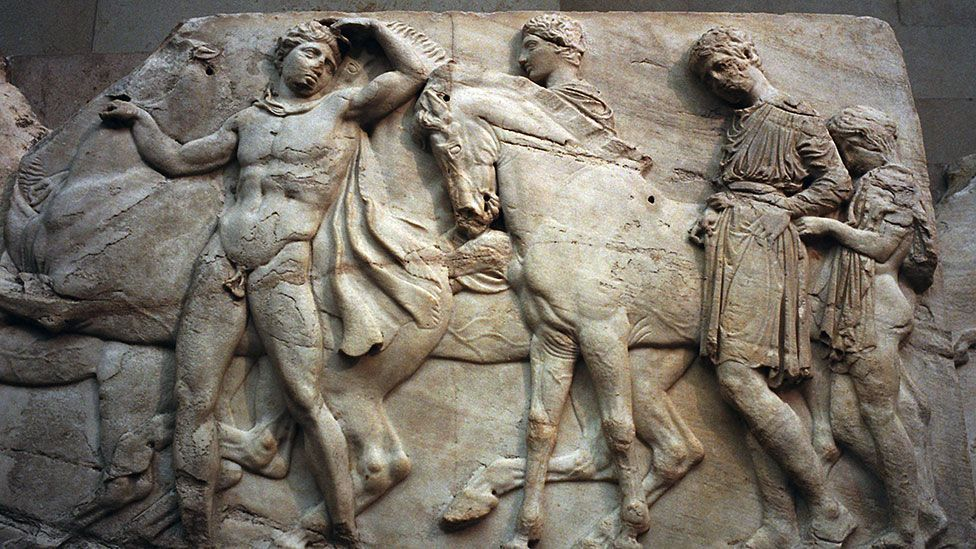 The Elgin Marbles, taken from the Parthenon in Athens two centuries ago, remain at the British Museum despite Greece's demands that they be returned (Credit: Getty Images)