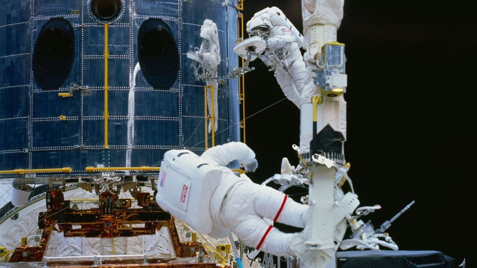 Musgrave and Hoffman carried out one of the longest spacewalk missions in Nasa history (Credit: Nasa)