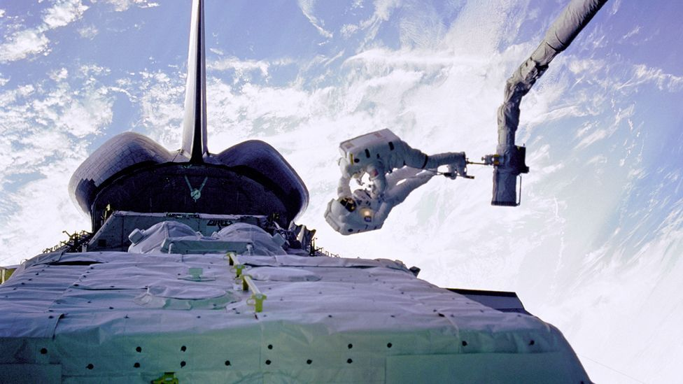 The repairs were carried out in orbit some 600 kilometres (370 miles) above Earth (Credit: Nasa)