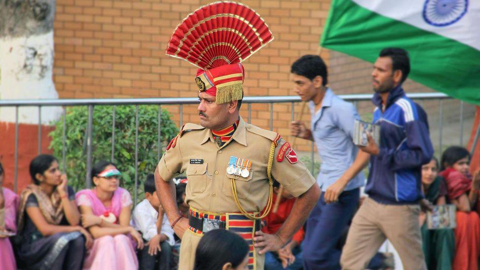 Indian border guards at the border closing ceremony (Credit: Tawny Clark)