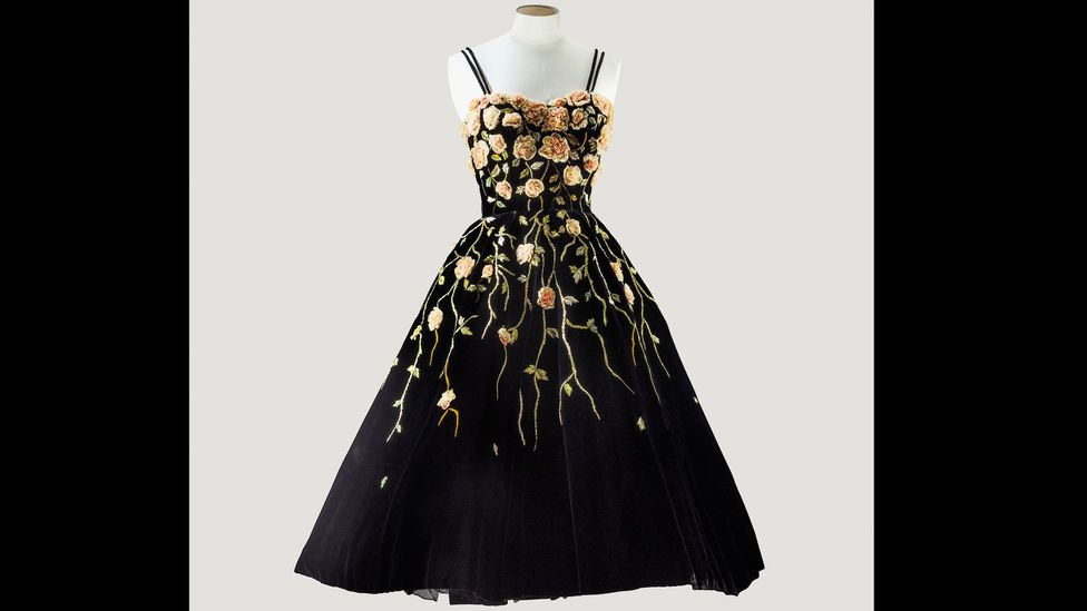 This Balmain velvet cocktail dress is embroidered with chiffon roses by Lesage. (Credit: Sotheby's/Art digital studio)