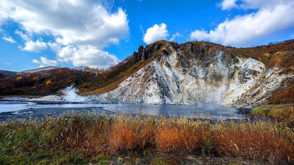 The source of Noboribetsu's hot spring water in the onsen resort (Credit:Liwei Hong/Getty)