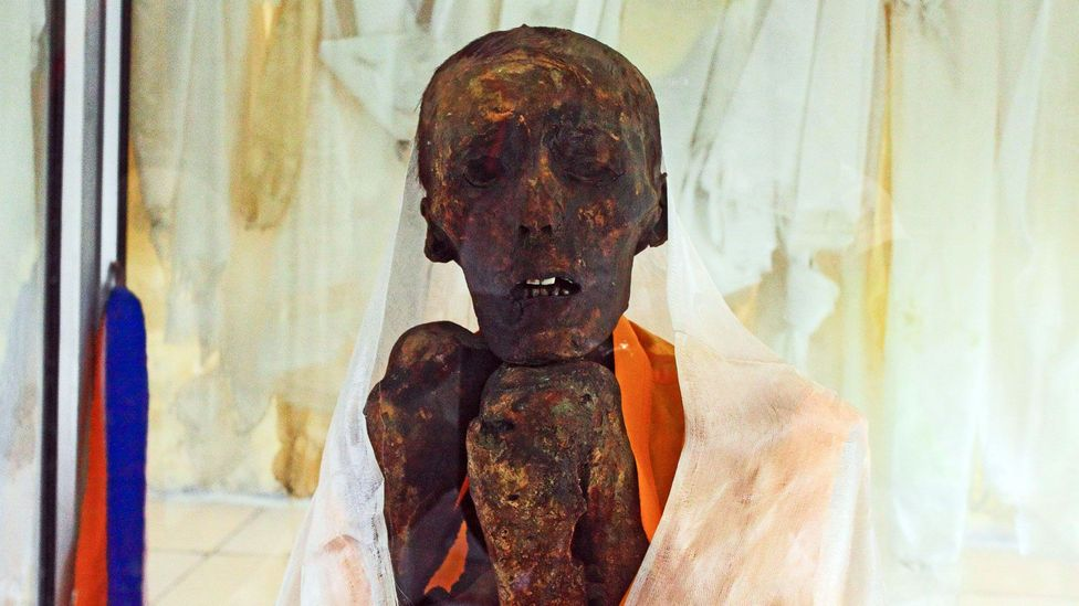 The 500-year-old mummified remains of the buddhist monk, Sangha Tenzin (Credit: Neelima Vallangi)