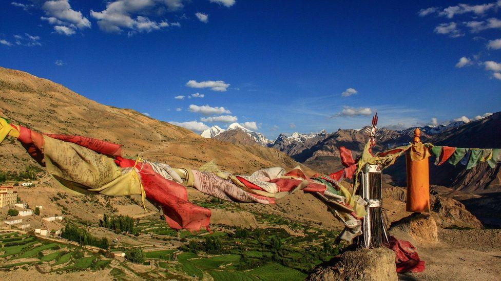 Prayer Flags fluttering over Dhankar Monastery (Credit: Neelima Vallangi)