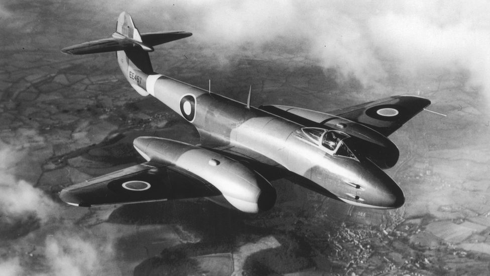 The first British jet fighter, the Gloster Meteor, spurred development of the ejector seat. (Credit: The Picture Collector/Getty Images)