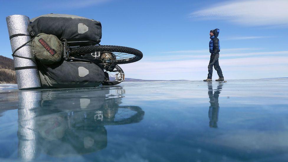 Walking on frozen Lake Khövsgöl (Credit: Stephen Fabes)