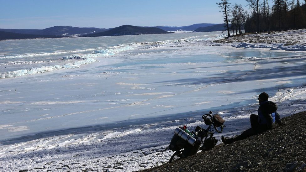 Bicycling on Lake Khövsgöl (Credit: Stephen Fabes)