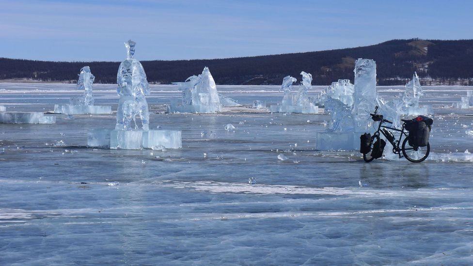 Remaining sculptures from the annual Ice Festival (Credit: Stephen Fabes)