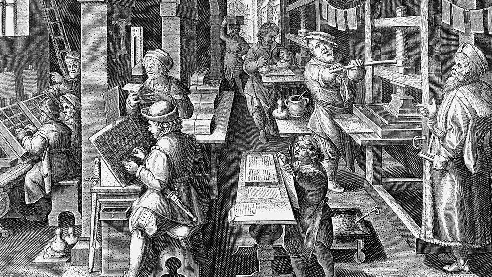 Copper engraving after a late 16th-Century image of Dutch typesetters (Credit: Alamy)