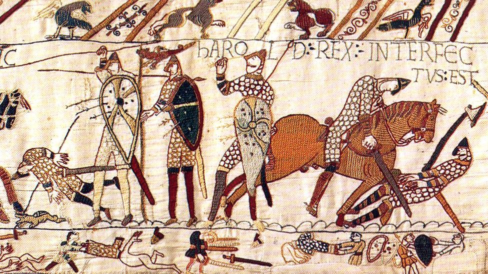 The Norman conquest of Britain in 1066 - shown here in the 11th-Century Bayeux Tapestry - introduced a number of French words into the language (Credit: GL Archive/Alamy)