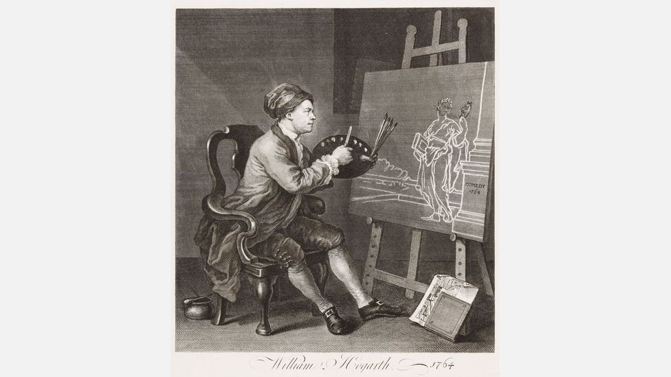 The self-portrait Hogarth Painting the Comic Muse shows the artist at work (Credit: Städel Museum – ARTHOTHEK)