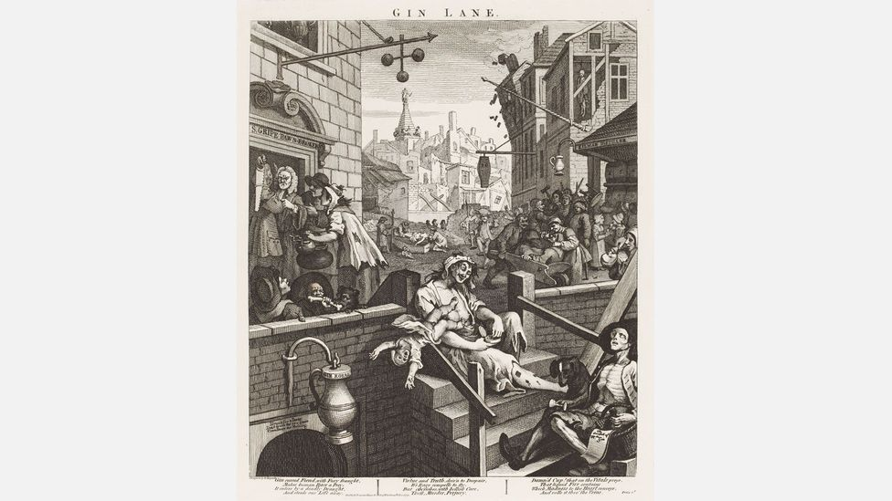 Hogarth's print of 1751 depicts the spirit as a one-way street to ruin (Credit: Gin Lane/William Hogarth/Städel Museum – ARTHOTHEK)