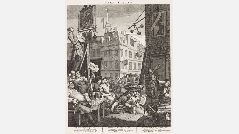 In contrast to Gin Lane, Beer Street hymns the virtues of happy, healthy British ale (Credit: William Hogarth/Städel Museum – ARTHOTHEK)