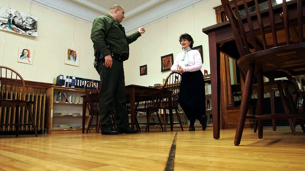Border patrol at the Haskell Free Library (Credit: Joe Raedle/Getty Images)
