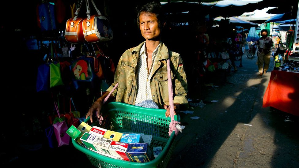 A Burmese market selling counterfeit items (Credit: Paula Bronstein/Getty Images)