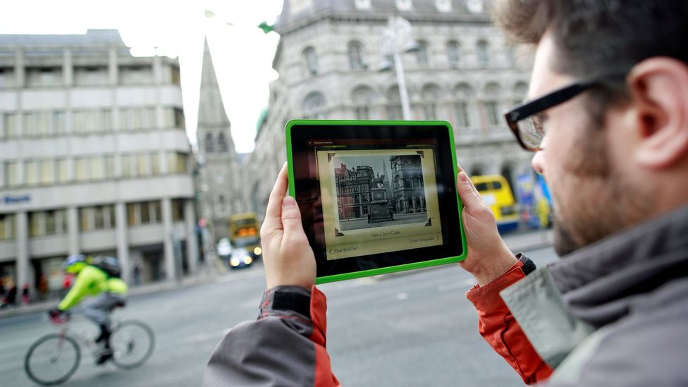 An app guides a walking tour of Dublin that highlights locations found in Joyce's work (Credit: Corbis)