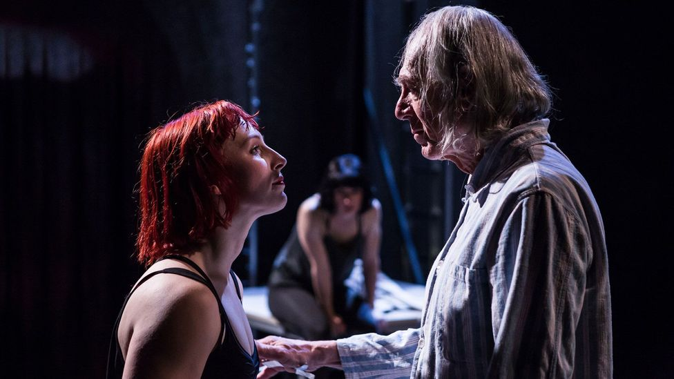Abbi Greenland and Peter Marinker appear in We Want You to Watch, a new play about internet pornography at London's National Theatre (Credit: Richard Davenport)