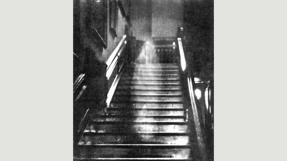 The Brown Lady of Raynham Hall: The ghostly form seen here was thought to be caused by the camera being shaken during a long exposure (Credit: Captain Provand)