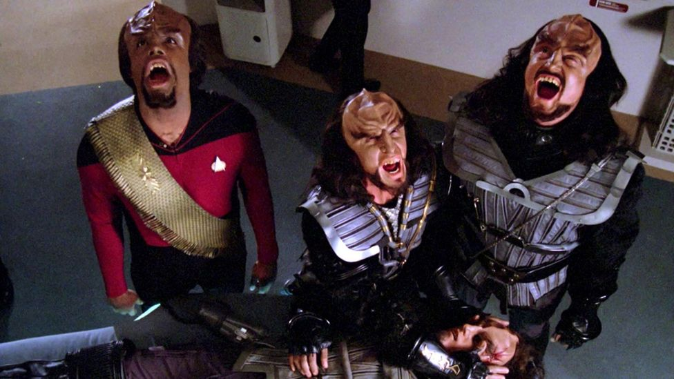 An opera, Dickens's A Christmas Carol and scenes from Shakespeare have all been rendered in Klingon (Credit: Paramount TV)