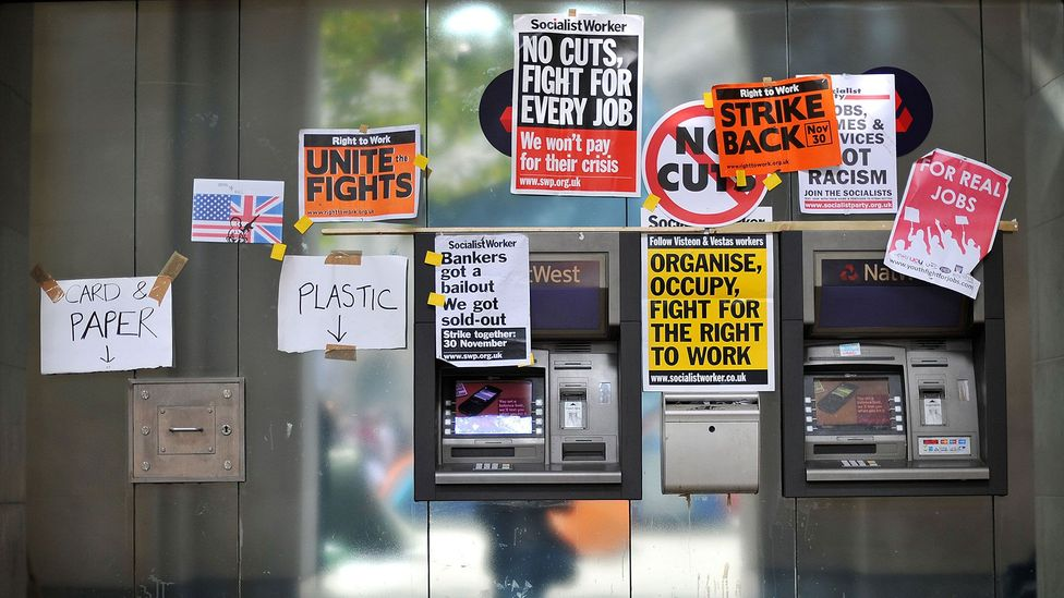 The Occupy Movement that gathered pace around the world in 2011-12 used posters to communicate with a mass audience (Credit: AFP/Getty Images)