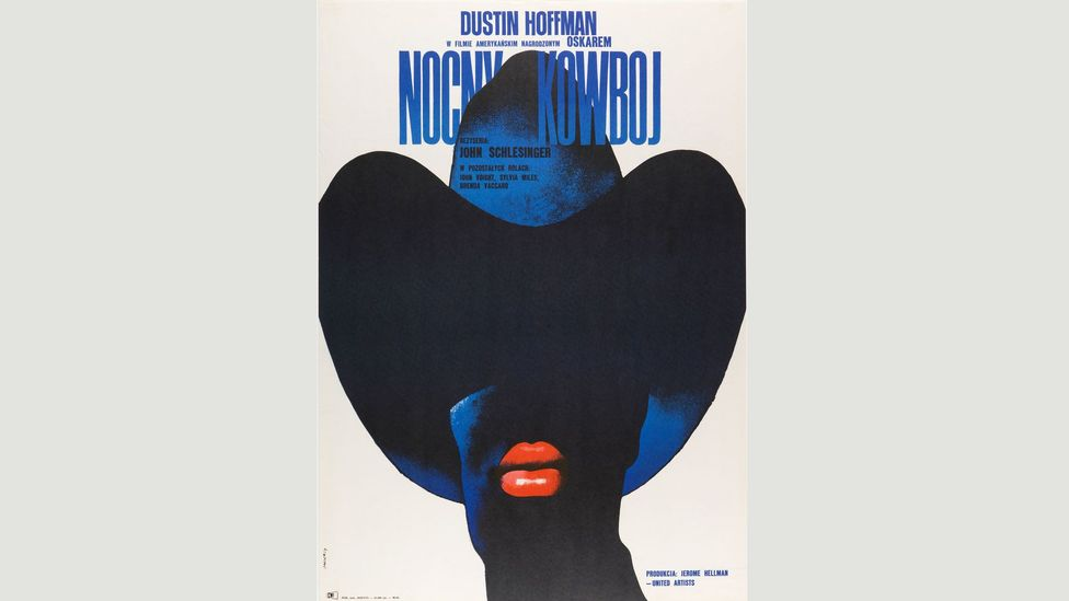Poland has a lively poster design scene. This 1973 advertisement for Midnight Cowboy could not be more different from the film's US marketing (Credit: Cooper Hewitt Museum)