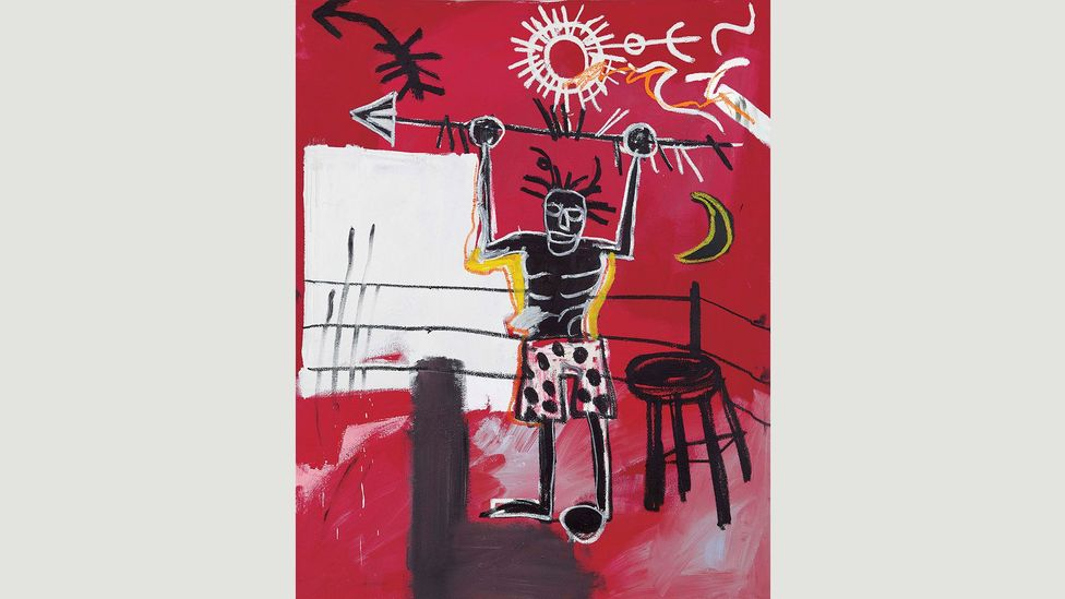 The Ring (1981) shows a bare-chested and triumphant black boxer. Pugilism and issues of race occur in many of the painter's works (Credit: JM Basquiat. Licensed by Artestar, NYC)