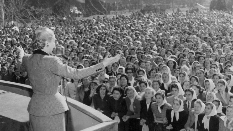 Peron addresses a crowd of women in 1951 (Credit: Getty Images)