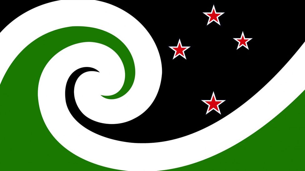 Auckland artist and illustrator Otis Frizzell has based his New Zealand flag design on the Maori koru and the Southern Cross constellation (Credit: Otis Frizzell)