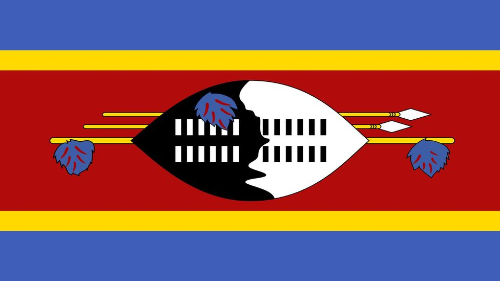 Swaziland's shield-and-spear design is a favourite of Sydney vexillologist Ralph Kelly, who includes it in his personal collection (Credit: Government of Swaziland)