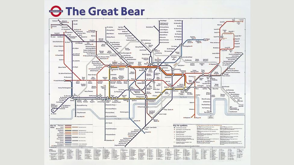 This print replicates the iconic map -- except that the station names have been replaced by celebrities (Credit: The Great Bear, 1992/Simon Patterson/Victoria & Albert Museum)