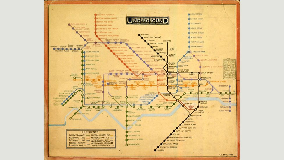 Harry Beck's 1931 design, shown here, would be the basis for all future Underground maps (Credit: TfL from the London Transport Museum collection)