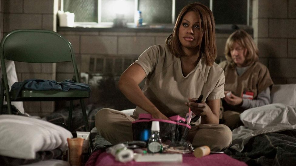 Laverne Cox from Orange is the New Black is one of the show's breakout stars. She has gone on to become a spokesperson for transgender issues (Credit: Netflix)