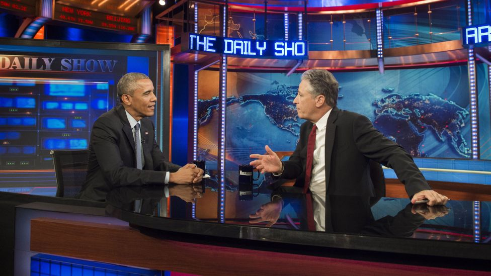 Stewart attracted many high-profile guests to his show, including US President Obama, whom Fox News has accused of using Stewart as a political mouthpiece (Credit: AFP/Getty)