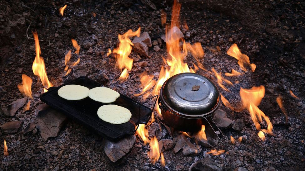 Pancakes cook while water boils for tea (Credit: Naomi Arnold)