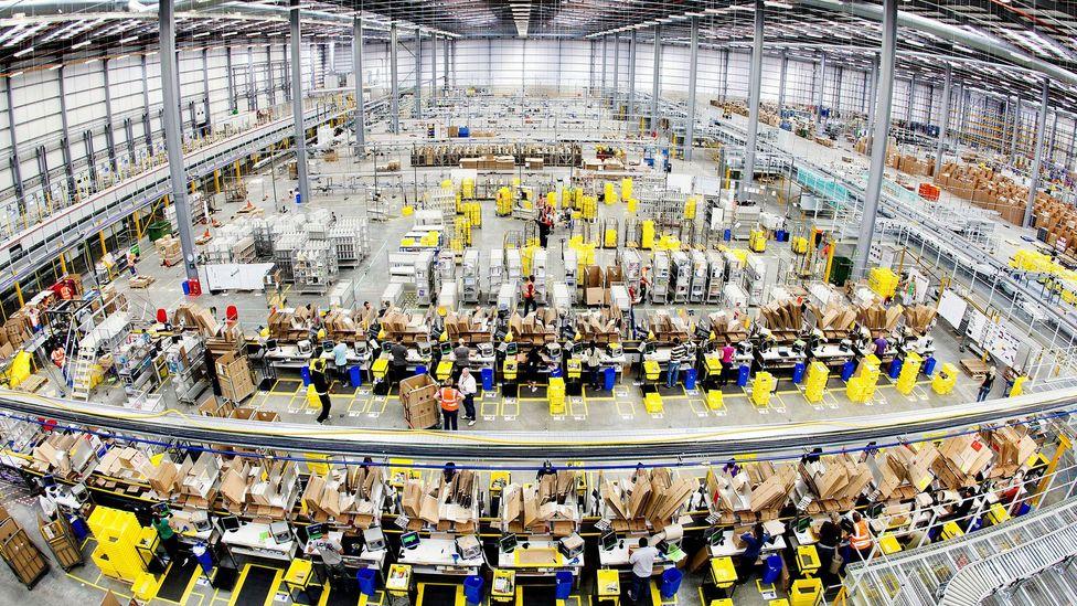 Amazon's vast, 40,000 sq m, fulfilment centre in Hemel Hempstead (Credit: Amazon)