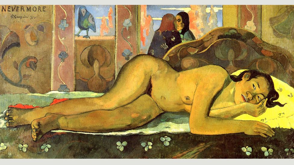 Although Gauguin denied he had been inspired by The Raven, he called one of his 1897 paintings Nevermore – the word repeated by the bird throughout the poem (Credit: Paul Gaughin)